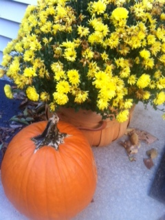 Spruce up the walk way with pumpkins and mums! Brightens any space!