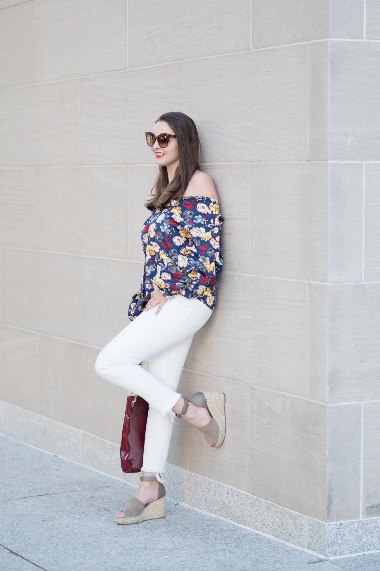 off the shoulder top on dallas blogger