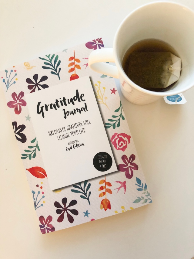 gratitude journal and tea