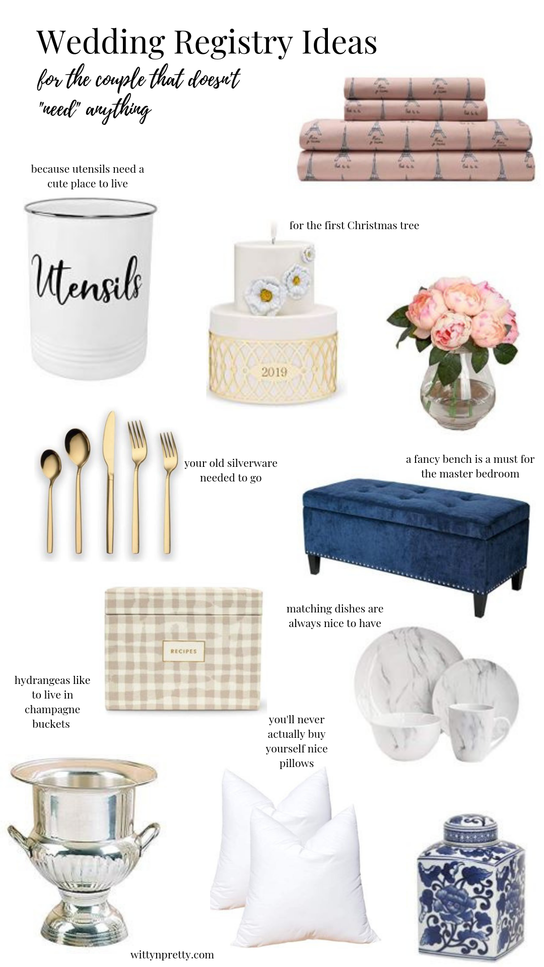 What To Put On Your Wedding Registry Witty N Pretty