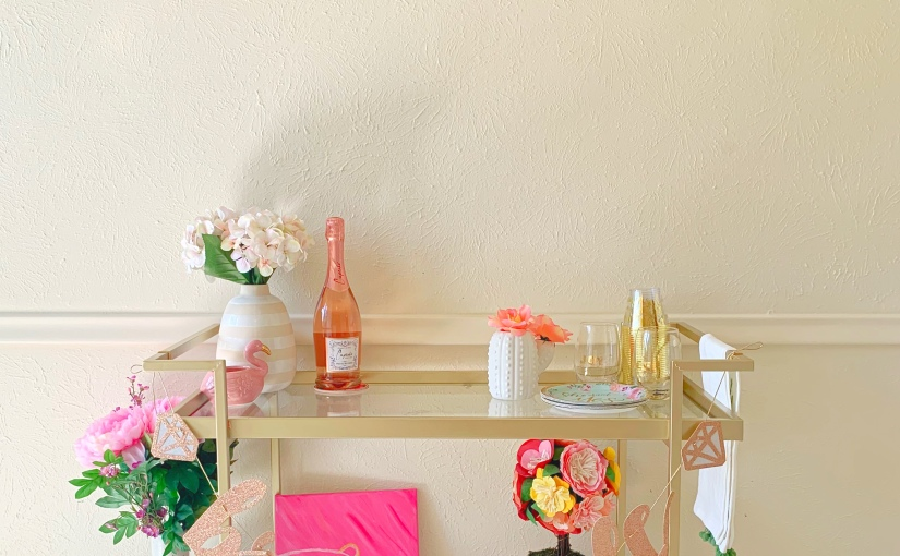 Bridal Shower and Bachelorette Party Bar Cart Styling