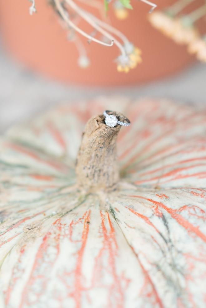 diamond ring on pumpkin