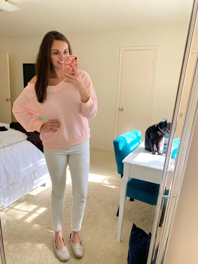pink waffle knit