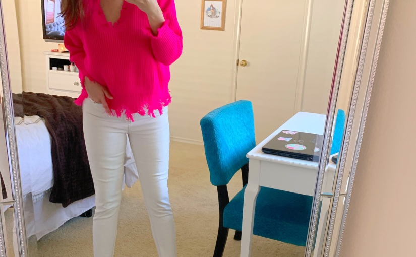 Pink Fringe Sweater Under $30